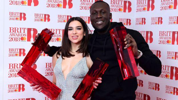 Dua Lipa Stormzy BRITs 2018