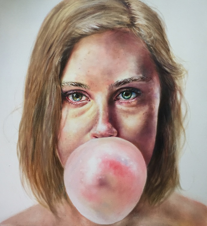 Woman blowing bubble - Getty painting