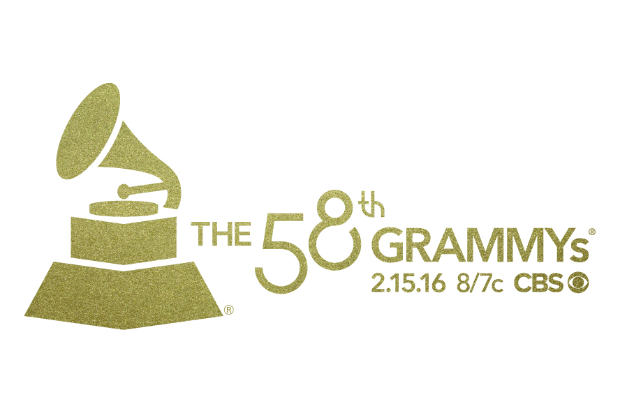 58th GRAMMYs Lockup Tune-in Big 4-Gold on white