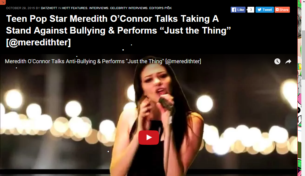 "DATZHOTT: Teen Pop Star Meredith O'Connor Talks Taking A Stand Against Bullying & Performs ""Just the Thing"""